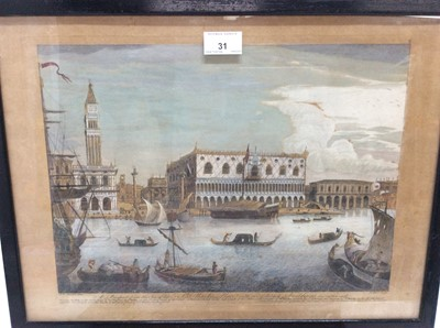 Lot 31 - Three mid 18th century hand coloured engravings after Marieschi, Venetian views to include: St Mark's Place, the Realto Bridge and the Doge's Palace, published 1744, in glazed ebonised frames, 33cm...