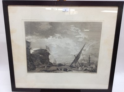 Lot 33 - Pair of antique black and white engravings after Fran. Zuccherelli by Fabio Berardi, figures and vessels off the coast, in glazed ebonised frames, plate size 40cm x 53cm, overall size 65cm x 75cm