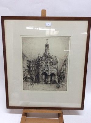 Lot 34 - E. Hedley Fitton (1859-1929) signed black and white etching - Chichester Cross, in glazed frame, 43cm x 36cm  Provenance: Frost & Reed