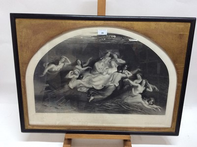 Lot 35 - William Edward Frost (1810-1877) black and white engraving - Sabrina, engraved by P. Lightfoot, in ebonised frame with arched gilt slip, 55cm x 75cm overall
