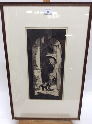 Lot 36 - Sidney Tushingham (1884-1968) signed black and white etching - Continental Street, in glazed frame, 39cm x 19cm