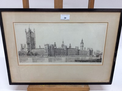 Lot 38 - Marcel Schuette, 1930s signed black and white etching - The Palace of Westminster, dated 1934, in glazed ebonised frame, 20cm x 40cm
