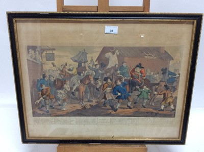 Lot 39 - 19th century William Hogarth hand coloured engraving - Hudibras Encountering the Skimmington, in glazed frame, 40c mix 53cm