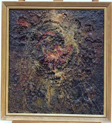Lot 47 - Zambelli, 1960s mixed media on board - Abstract, signed and dated '66, framed, 37cm x 33cm