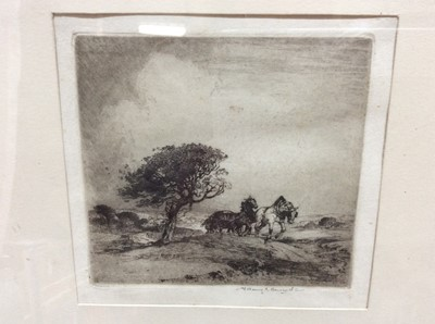 """Lot 48 - Albany E. Howarth (1872-1936) signed black and white etching - """"End of the Day"""", in glazed ebonised frame, 13cm x 14cm"""