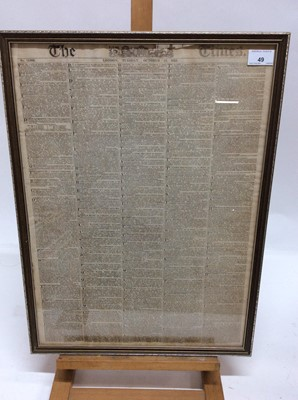 Lot 49 - Georgian copy of The Times, Tuesday October 14th, 1823, noting a report of the Peninsula War etc, in glazed frame, 57cm x 43cm