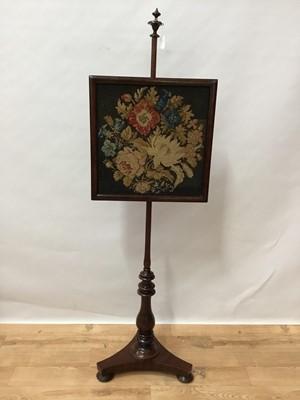 Lot 112 - Early Victorian mahogany pole screen
