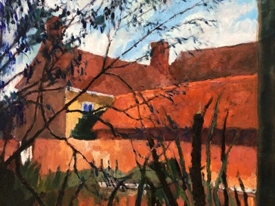 Lot 66 - David Britton, contemporary, oil on board - Hall, Moat and Mace Reeds, Tolleshunt D'Arcy, signed, framed, 50cm x 60cm