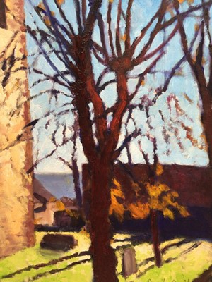 Lot 67 - David Britton, contemporary, oil on board - West Mersea Church Tower, signed, framed, 50cm x 40cm