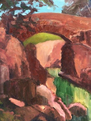 Lot 68 - David Britton, contemporary, oil on board - Footbridge over the Duddon, signed, framed, 54 x 43cm