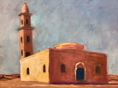 Lot 69 - David Britton, contemporary, oil on board - Mosque with Minaret, signed, framed, 44cm x 59cm