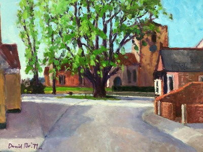 Lot 71 - David Britton, contemporary, oil on board - West Mersea Church and Lime Tree, signed, framed, 51cm x 62cm