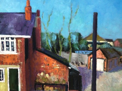 Lot 74 - David Britton, contemporary, oil on board - Red Brick House, signed, framed, 50cm x 61cm