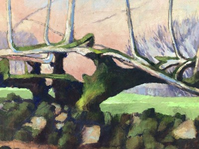 Lot 75 - David Britton, contemporary, oil on canvas - Wall and Tree, framed, 40cm x 51cm