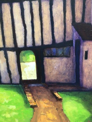 Lot 76 - David Britton, contemporary, oil on canvas - Weavers' Cottage, Dedham, Essex, signed, framed, 46cm x 41cm