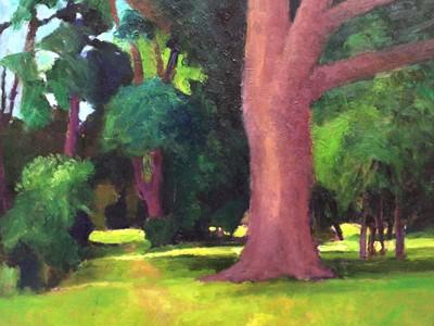 Lot 77 - David Britton, contemporary, oil on board - Garden in Horkesley, signed, framed, 45cm x 56cm