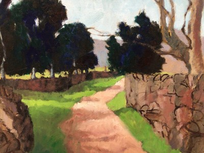 Lot 78 - David Britton, contemporary, oil on canvas - Cumberland Path, signed, framed, 50cm x 51cm