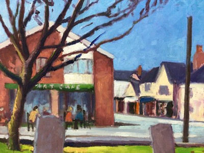 Lot 79 - David Britton, contemporary, oil on canvas - Art Cafe, Mersea, signed, framed, 46cm x 61cm