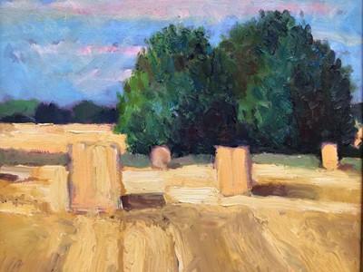 Lot 80 - David Britton, contemporary, oil on board - Haystacks, signed, framed, 45cm x 45cm