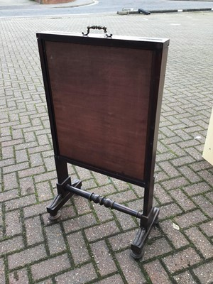 Lot 88 - Mahogany framed fire screen together with another glass panelled screen