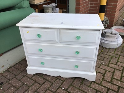 Lot 89 - Painted pine chest of two short and two long drawers with shaped glass handles