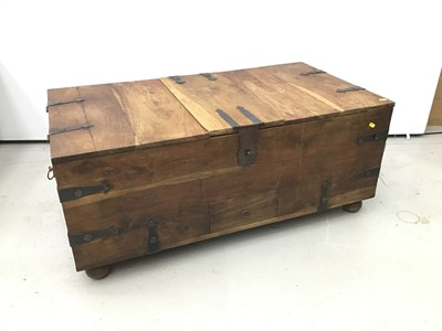 Lot 90 - Large metal bound teak chest / coffee table