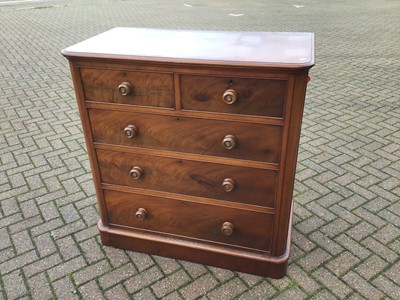 Lot 72 - Victorian mahogany chest of two short and three long drawers with turned handles on plinth base