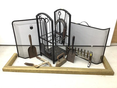 Lot 59 - Lot of fire implements, fire screens etc
