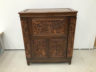 Lot 6 - Chinese carved wooden cocktail cabinet
