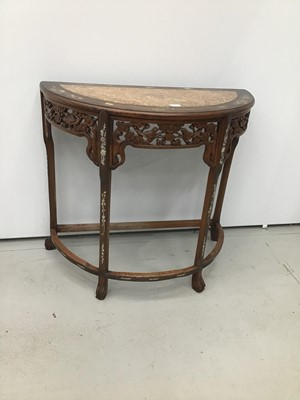 Lot 9 - Chinese carved rosewood Demi-lune hall table with marble inlaid top and mother of pearl inlaid decoration