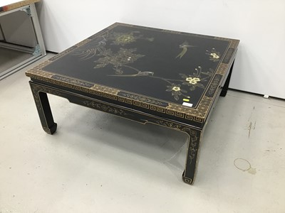Lot 5 - Chinese black lacquered and chinoiserie decorated coffee table together with a pair of matching lamp tables