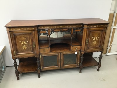Lot 1 - Late Victorian inlaid rosewood sideboard