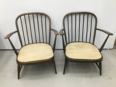 Lot 42 - Pair of Ercol elbow chairs together with a small low back side chair