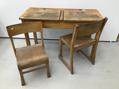 Lot 48 - Antique school desk and pair of child's desk chairs