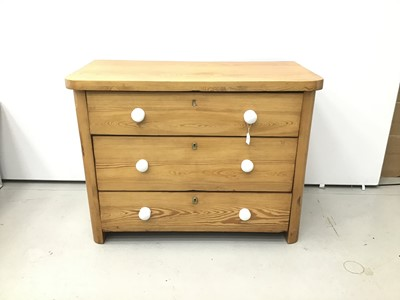 Lot 67 - Antique pine chest of three long drawers