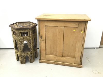 Lot 70 - Pine enclosed cupboard together with Islamic style side table and set of four chairs with caned seat