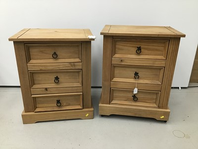 Lot 77 - Pair of pine bedside chests