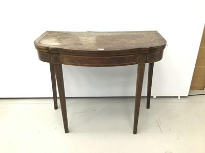 Lot 82 - Unusual George III mahogany and boxwood crossbanded card table