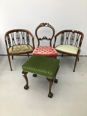 Lot 83 - A pair of Edwardian mahogany tub chairs, together with a Victorian prie-dieu chair, a Victorian dining chair and Georgian style stool