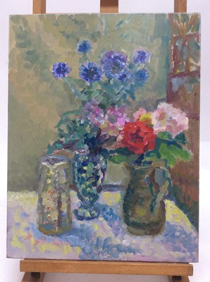 Lot 1 - Annelise Firth (b.1961) oil on canvas - Still life of flowers in vase and jugs, signed and dated verso, 46cm x 36cm