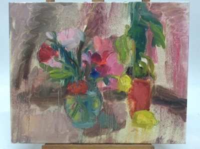 Lot 4 - Annelise Firth (b.1961) oil on canvas - Still life of flowers in vase, signed and dated verso,  40cm x 50cm