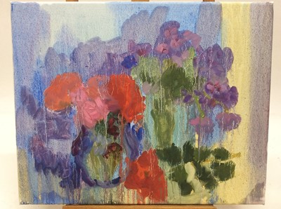 Lot 5 - Annelise Firth (b.1961) oil on canvas - Still life of flowers in vases, signed and dated verso, 41cm x 51cm