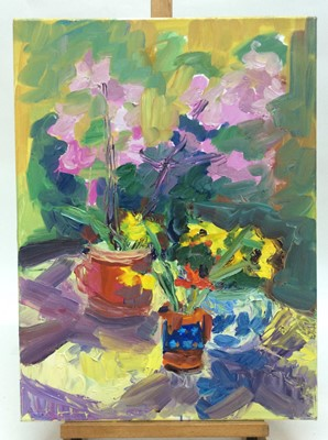 Lot 6 - Annelise Firth (b.1961) oil on canvas - Still life flowers in vessels, signed and dated verso, framed, 61cm x 45.5cm