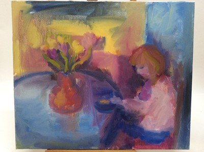 Lot 7 - Annelise Firth (b.1961) oil on canvas - Pink Tulips, signed and dated verso, 50cm x 60cm