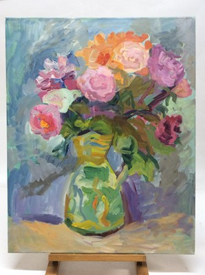 Lot 10 - Annelise Firth (b.1961) oil on canvas - Jug of Roses and Peonies, signed and dated verso, 76cm x 61cm