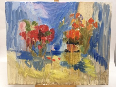 Lot 11 - Annelise Firth (b.1961) oil on canvas - Still life of flowers in vases, signed and dated verso, 61cm x 76cm