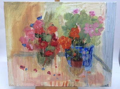 Lot 12 - Annelise Firth (b.1961) oil on canvas - Still life of flowers in vases, signed and dated verso, 61cm x 76cm