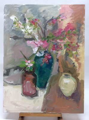 Lot 14 - Annelise Firth (b.1961) oil on canvas - Spring Blossom, signed and dated verso, 80cm x 60cm