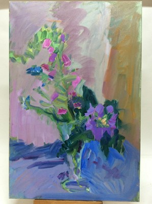 Lot 15 - Annelise Firth (b.1961) oil on canvas - Morning Foxgloves, signed and dated verso, 90cm x 60cm