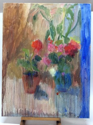 Lot 16 - Annelise Firth (b.1961) oil on canvas - Chilli Plant Red Geranium, signed and dated verso, 92cm x 71cm